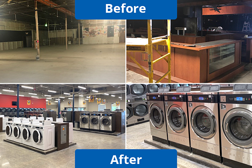 Laundromat before and after